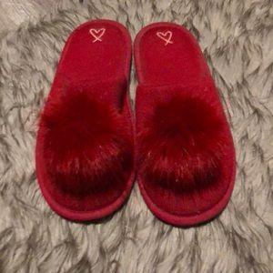 Victoria's Secret Red Fur Slippers